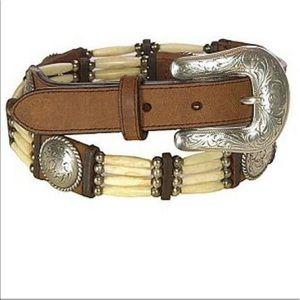 Tony Lama Native Son Bone Bead Leather Belt 28